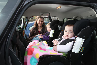Catherine Edwards and her two children, Joshua and Eleanor, who use rear facing car seats.