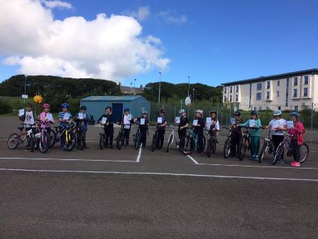 Children taking part in Bikeability Level 1.