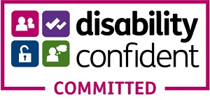 Disability confident committed logo.
