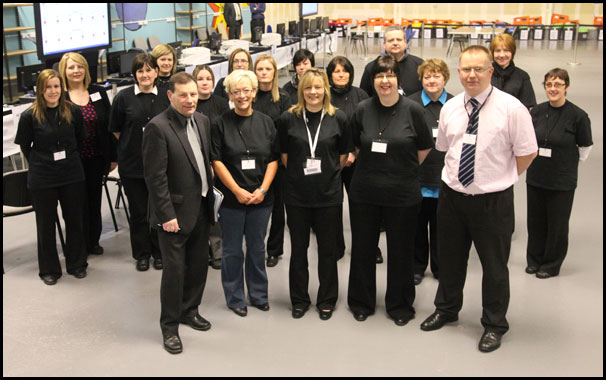 Returning Officer Albert Tait and count staff.