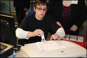 Kirkwall East votes being scanned.