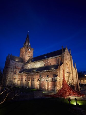 Image of the ceramic poppies at St Magnus Cathedral at night.